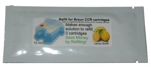 Refill Solution for Braun Clean & Renew CCR3 Shaver Cartridges (Lemon, 1 Packet (3 refills))