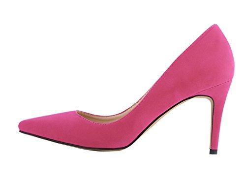 Women's Fashion Pointy Toe Stiletto Slip On Pumps High Heels Shoes rose velveteen 6ygSaxUi