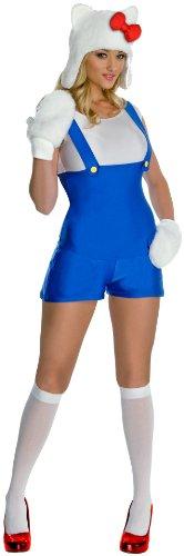 [Hello Kitty Blue Romper Adult Costume Adult (Medium)] (Sexy Halloween Cost)