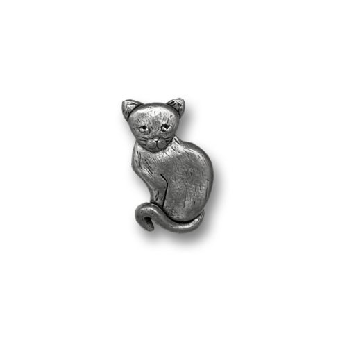 Pewter Short Haired Cat Lapel Pin by The Magic Zoo