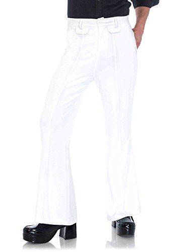 Leg Avenue Men's Bell Bottom Disco 70s Pants, White X-Large -