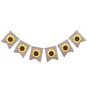 Autumn Sunflowers Banner Burlap Bunting Banner Paryt Garlands Banner for Thanksgiving Party Home Decoration