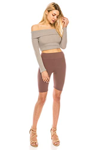 ALWAYS Bike Shorts Women Leggings - High Waisted Buttery Premium Soft Stretch Workout Yoga Running Gym Pants Tan One -