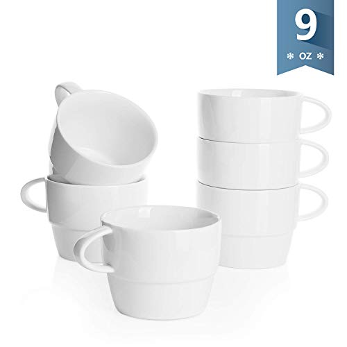 Sweese 4313 Porcelain Cappuccino Cups - Stackable Coffee Cups Set - 9 Ounce for Specialty Coffee Drinks, Latte, Cafe Mocha and Tea - Set of 6 - White