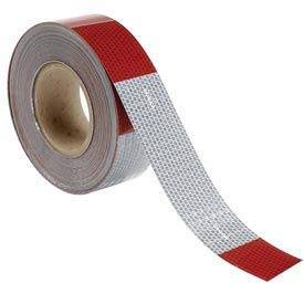 Conspicuity Reflective Tape, 11''/7'' Pattern, 13 mil Vinyl, Red/White, DOT-C2, 150'L x 2''W, 1 Roll (V57203)