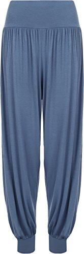 WearAll Women's Plus Size Hareem Trousers Ladies Full Length Stretch Pants - Light Blue - US 24-26 (UK 28-30)