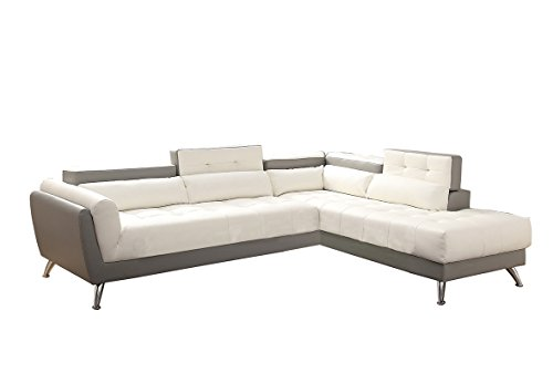 Poundex Bobkona Jolie Bonded Leather 2Piece SECTIONAL in Whi