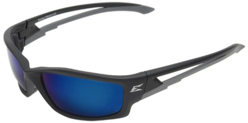 Edge Eyewear TSKAP218 Kazbek Polarized Safety Glasses, Black with Aqua Precision Blue Mirror Lens - Edge Safety Glasses