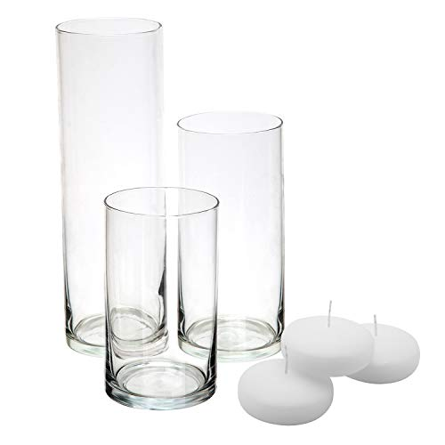 Royal Imports Glass Cylinder Vases - Set of 3 - Including 3 Floating DISC Candles, Decorative Centerpieces for Home or Wedding -