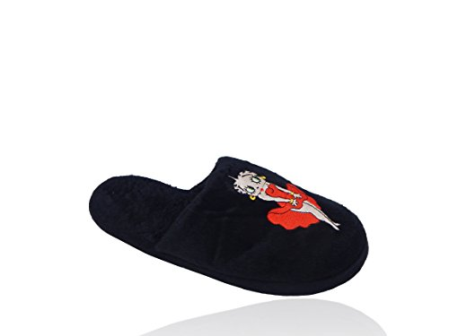 Betty Boop Ultra-Soft Womens Plush Pinup Scuffs Cozy Non-Skid Slippers - Great For Gifts Belle Black 6EkLGL