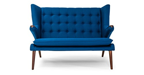 Kardiel Wegner Style Papa Bear Wing Loveseat Sofa, Sapphire Cashmere Wool, Walnut Legs