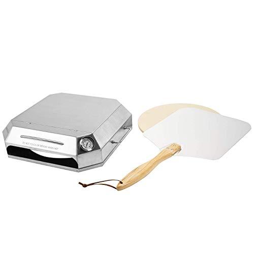 Onlyfire BRK-6053 Universele RVS Pizza Oven Conversie Kit incl. Pizzaschep en Pizzasteen, Past voor de meeste gasgrills