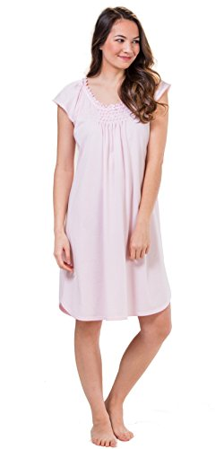 Miss Elaine Smocked Short Silkyknit Nightgown in Lilac Pink (Lilac Pink, X-Large) ()