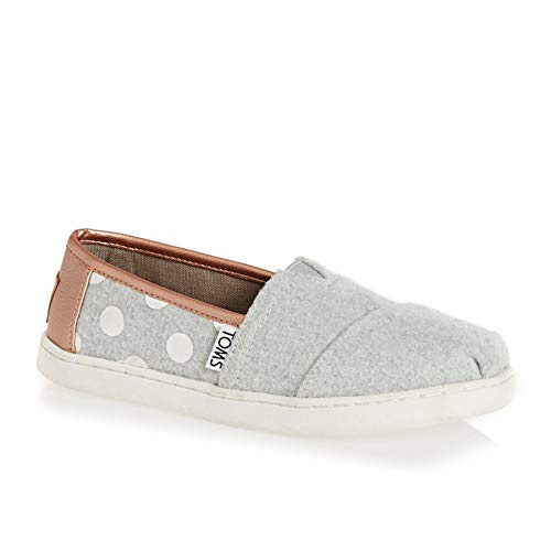 TOMS Drizzle Grey Felt Polka Dots Youth Classics Slip-On Shoes (13 M Little Kid) (Polka Dots Shoes Kids)