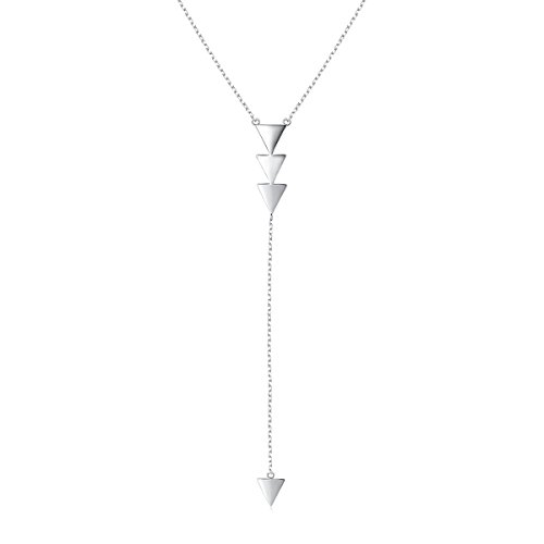 (Y Shape Necklace S925 Sterling Silver Simple Long Sweater Chain Lariat Arrow Pendant Necklace for Women Girl 30'')