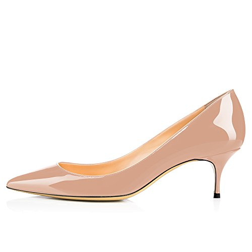 Leather 5 Evening Beige Stiletto Shoes Modemoven Gorgeous Women's Pumps 5CM Heels Toe Pointed Patent Kitten qFFyExwU7C
