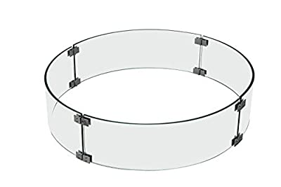 Elementi Outdoor Lunar Bowl Fire Tempered Glass Round 30 x 30 x 7 inches Heavy Duty Firepit Table Accessory Wind Screen, Clear