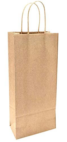 "Wine Bags 50 Kraft Bags, for Wine Spirits 5.25"" x 3.25"" x 13"" Gift Bags, Kraft Bags (50)"