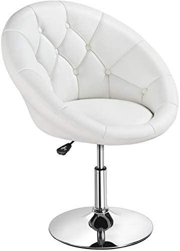 YAHEETECH Adjustable Modern Round Tufted Back Chair Tilt Swivel Chair Vanity Chair Barstool Lounge Pub Bar,White