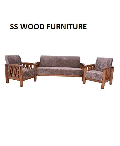 Ss Wood Furniture Sheesham Wooden Side Cross Design Sofa Set 3 1 1