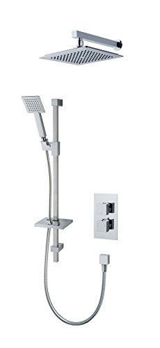 (MX Group Atmos Select Square 3 Way Thermostatic Concentric Shower Valve with Riser Rail, Overhead & Shower Handset - Chrome)