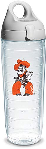 (Tervis Oklahoma State Pistol Pete Emblem Individual Water Bottle with Gray Lid, 24 oz, Clear)