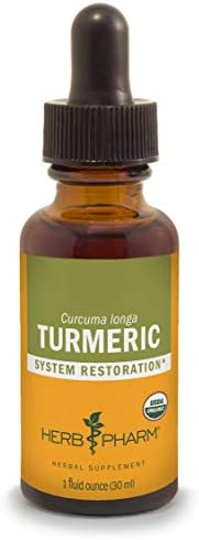 Herb Pharm Certified Organic Turmeric Root Liquid Extract for Musculoskeletal System Support – 1 Ounce