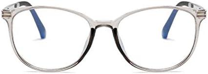 Miwaimao だてめがね レディース,コンピューターメガネ楕円光線放射線眼鏡プラスチックチタンフレームアンチブルーライトメガネ女性光学、灰色