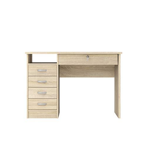 Tvilum 80163akak Walden Desk with 5 Drawers, Oak Structure