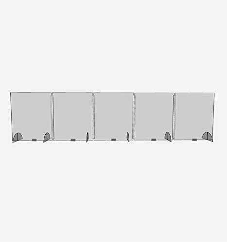 Workstation Conference Room Cubicle Partners Vendor from Coughing and Sneezing 152.5x36 Protect Employees,Guests for Office Table Clear Acrylic Plexiglass 5 Panel Long Desktop Sneeze Guard