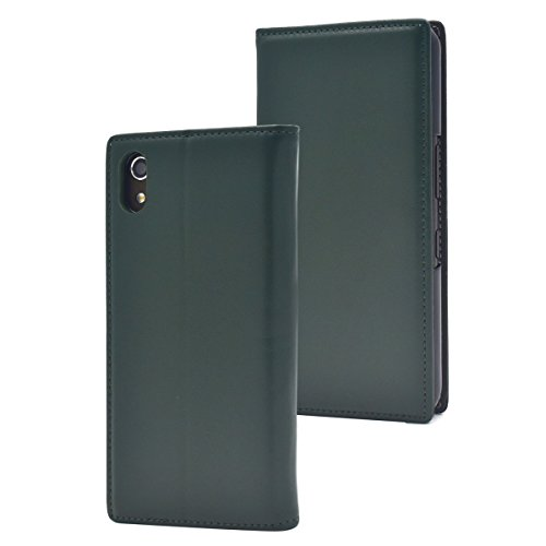 PLATA Android One S4 / DIGNO Jケース 手帳型 本革 ラム シープスキン 手触りの良い 羊革 レザー カバー フラップなし の スリム 設計 内側は PC ハードケース でしっかり 保護 便利な 横置き スタンド利用可 カードポケット 付き 【 グリーン 】