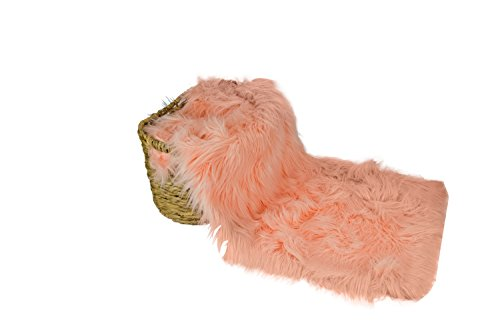(JLIKA Newborn Baby Photography Photo Prop Backdrop Faux Fur Sheepskin Background - 10 Colors to Choose from - Extra Large - 40 x 67 inches (Peach))