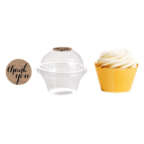 Dress My Cupcake 24-Pack Kraft Dessert Table Label Kit, Includes Favor Dome Containers, Thank You! Label and Lemon Yellow Wrapper by Dress My Cupcake