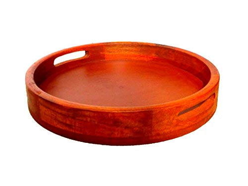 SP TAYBA Sales Handcrafted Finish Round Wooden Serving Tray (Light Brown, 12×12-inch) Price & Reviews