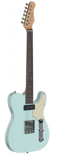 (Stagg SET-CST SNB Vintage T Series Custom Electric Guitar with Solid Alder Body - Sonic Blue)