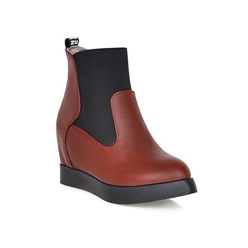 AdeeSu Ladies Heighten Inside Pull-On Platform Imitated Leather Boots Brown