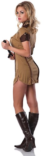 Delicious Pull Over Sexy Costume, Brown, (Pull Over Police Adult Costumes)