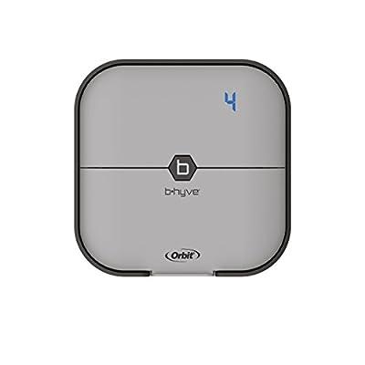 Orbit B-hyve 57915 Smart 4-Station WiFi Sprinkler System Controller, 4-Zone, Gray