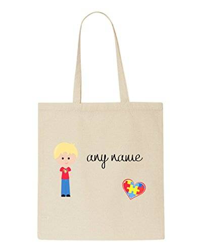 Any Personalised Name Bag Boy Tote B2 Awareness Autism Natural Blonde With Character Hair addrqw