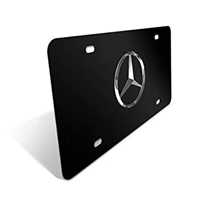 Mercedes Benz Logo Black Stainless Steel Front License Plate with Caps CLA CLS C E S SL SLK GL for Mercedes Benz (DIY Logo): Automotive