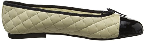 French Sole Simple Quilt-patent Toe - Bailarinas Mujer Blanco - Off White (Cream/Black)