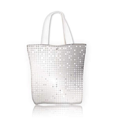 Ladies canvas tote bag Shiny with silver sequins reusable shopping bag zipper handbag Print Design W11xH11xD3 INCH