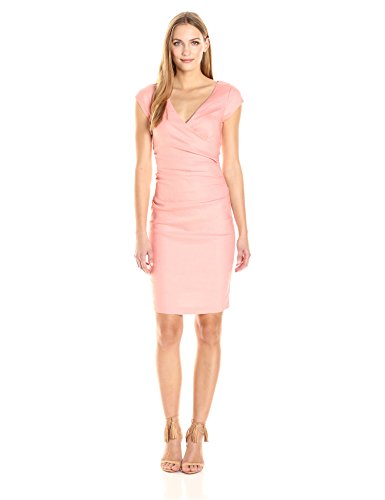 Nicole Miller Women's Beckett Stretch Linen-Blend Tuck Dress, Petal Pink, 4 from Nicole Miller