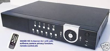 J1B-NEW 4CH CCTV SECURITY RECORDER 250GB DVR USB/REMOTE