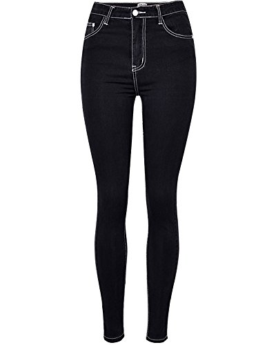 Jeans Leggings Denim Slim Taille Collant Pour Haute Stretch Pantalon Femme En Noir aqC7HH