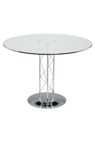 Eurø Style Trave Clear Glass Round Top Dining Table, 42