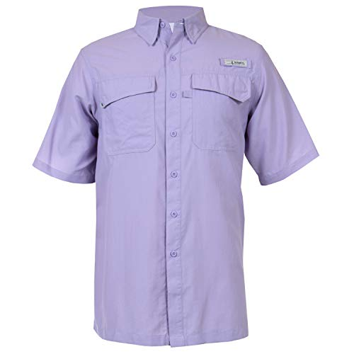 HABIT Men's Taku Bay Short Sleeve River Guide Fishing Shirt, Lavender, 2X-Large