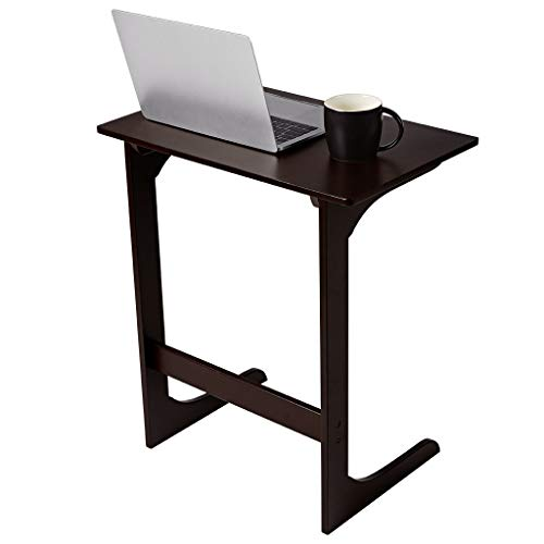 LANGRIA Sofa Side Table Bamboo Wood Snack Table Coffee End Table Bed Side Table Laptop Desk TV Tray for Eating Reading Living Room (Tv Tray Glass)