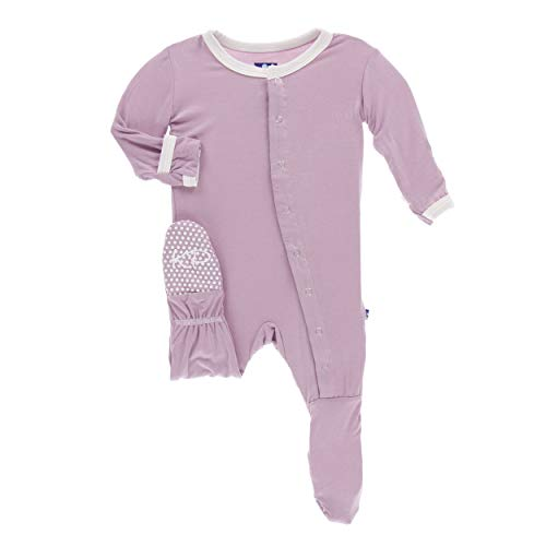 Kickee Pants Little Girls Solid Footie with Snaps - Sweet Pea with Natural, Newborn