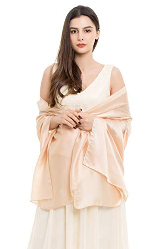 REEMONDE Womens Luxurious Soft Satin Chiffon Bridal Scarf Shawl Wraps Pashmina for Evening Party (Champagne Satin)